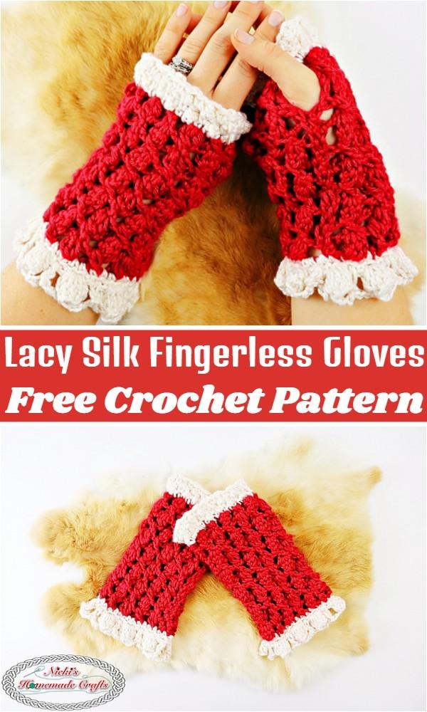 Crochet Lacy Silk Fingerless Gloves