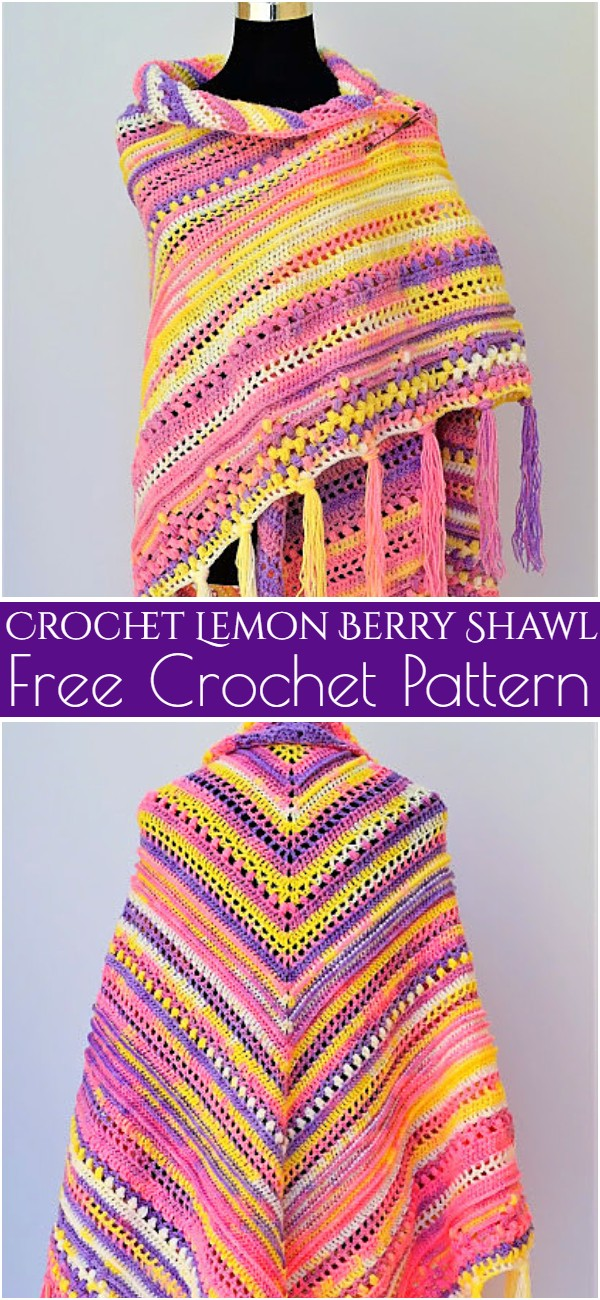 Crochet Lemon Berry Shawl