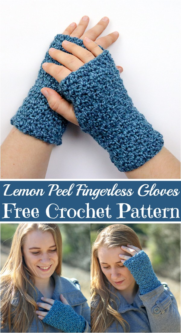 Crochet Lemon Peel Fingerless Gloves