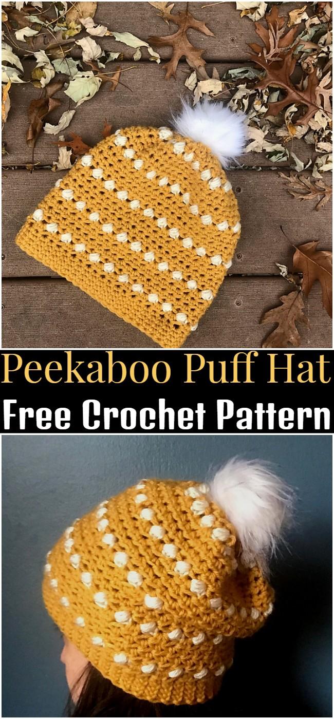 Crochet Peekaboo Puff Hat Pattern