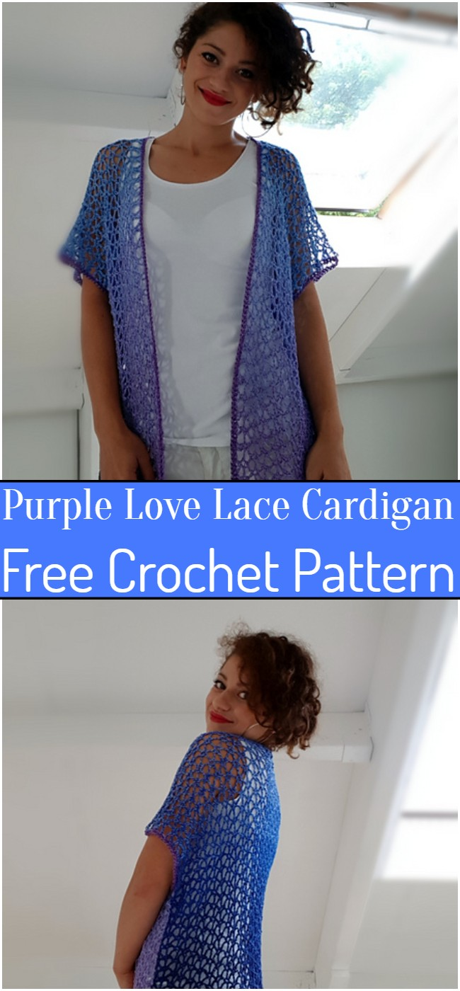 Crochet Purple Love Lace Cardigan Pattern