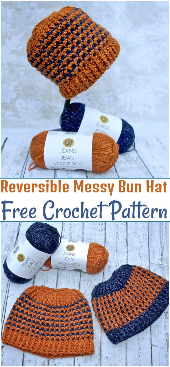 Crochet Reversible Messy Bun Hat PatternCrochet Reversible Messy Bun Hat Pattern