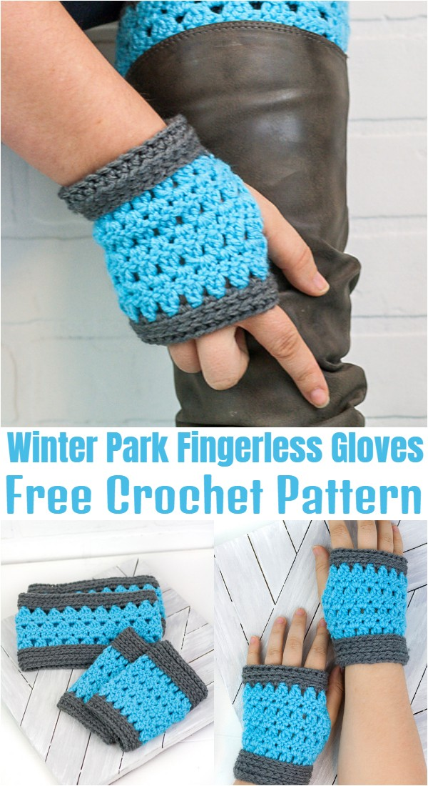 Crochet Winter Park Fingerless Gloves