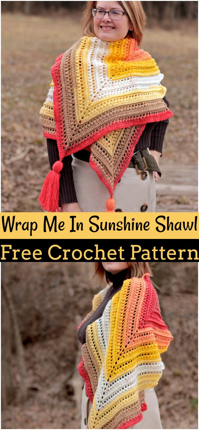 Crochet Wrap Me In Sunshine Shawl Pattern