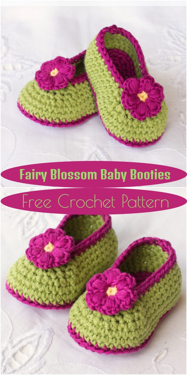 Fairy Blossom Baby Booties Crochet Pattern