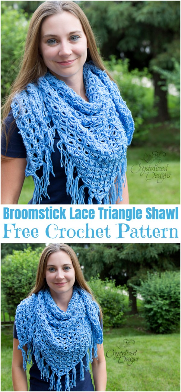 Free Crochet Broomstick Lace Triangle Shawl