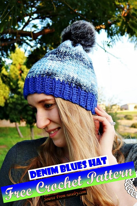 Free Crochet Denim Blues Hat Pattern