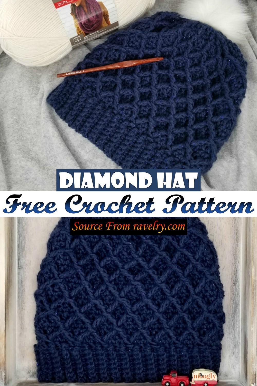 Free Crochet Diamond Hat Pattern