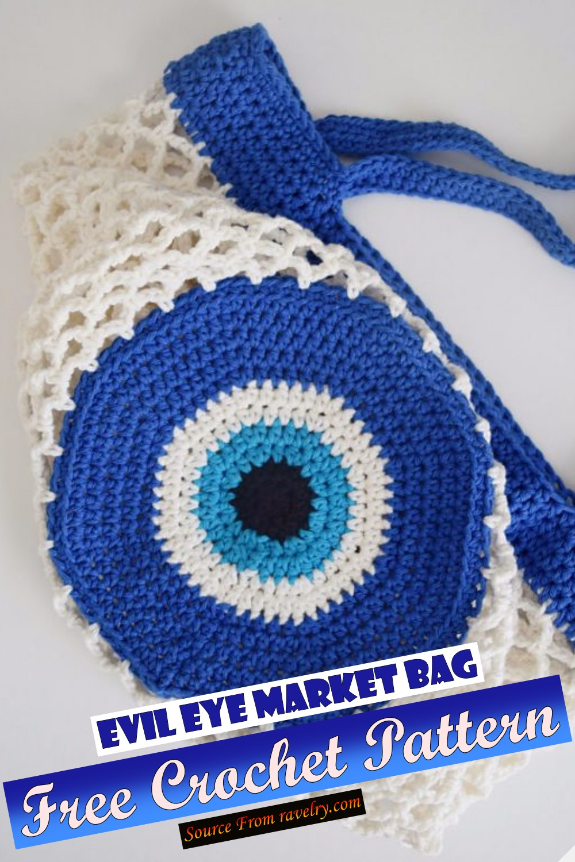 Free Crochet Evil Eye Market Bag Pattern