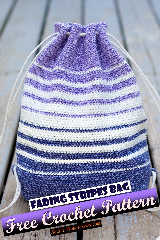 Free Crochet Fading Stripes Bag Pattern