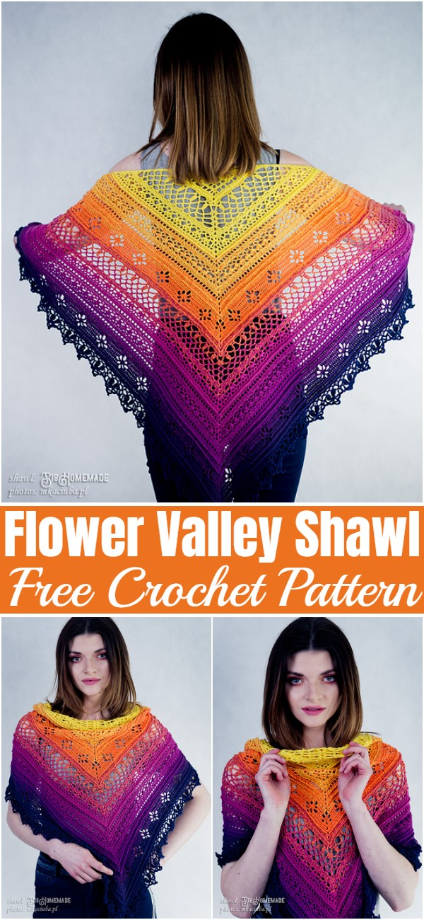 Free Crochet Flower Valley Shawl Pattern