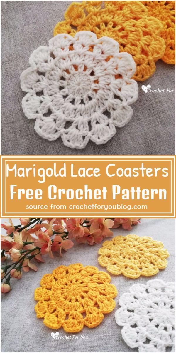 Free Crochet Marigold Lace Coasters Pattern