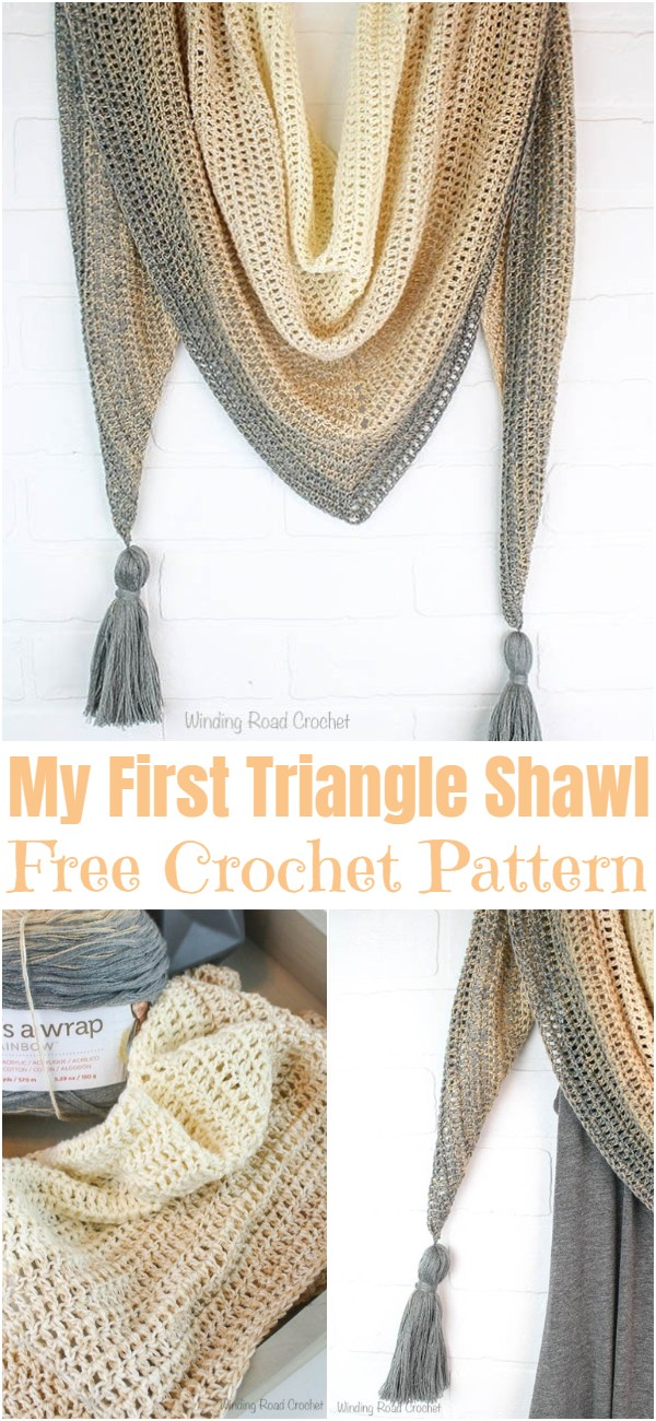 Free Crochet My First Triangle Shawl Pattern