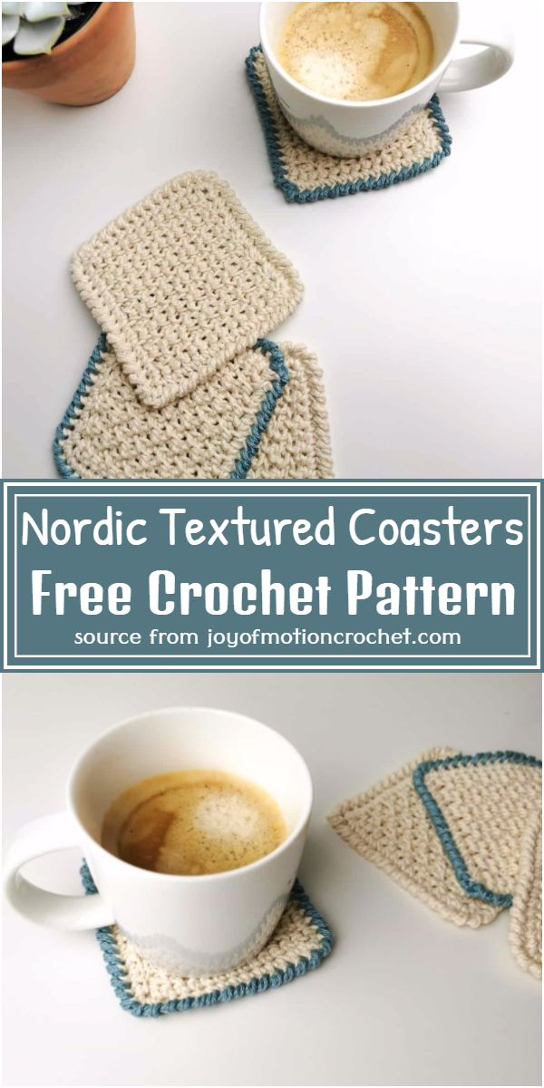 Free Crochet Nordic Textured Coasters Pattern
