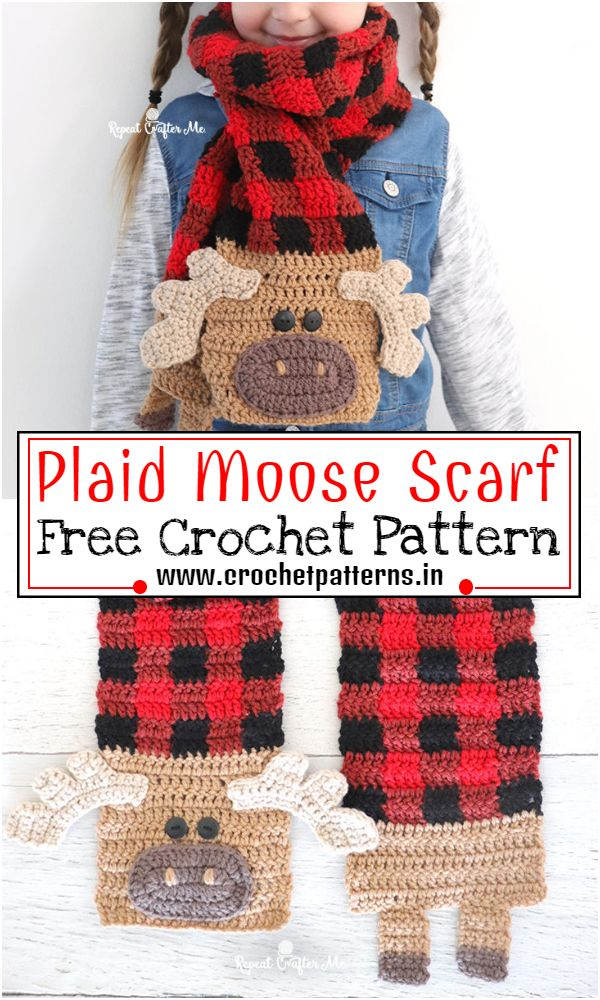 Free Crochet Plaid Moose Scarf Pattern