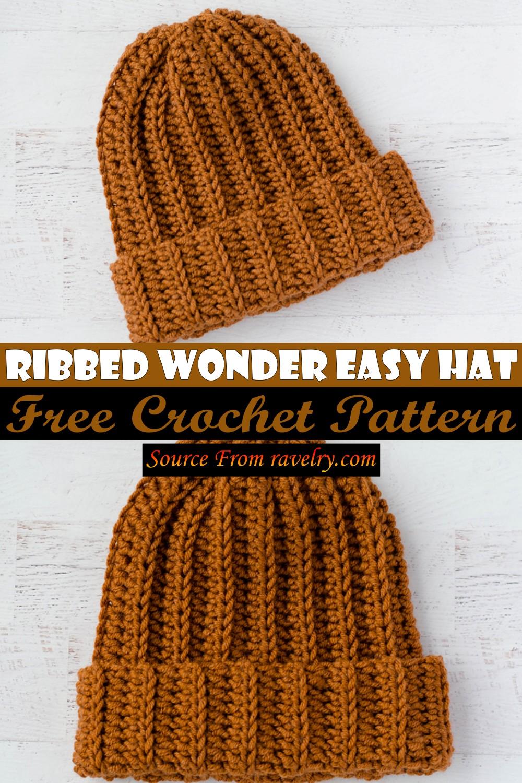 Free Crochet Ribbed Wonder Easy Hat Pattern