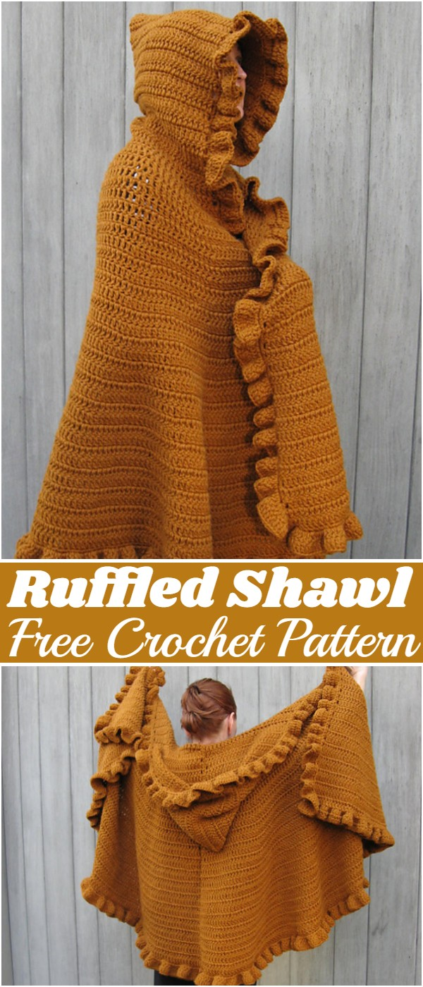 Free Crochet Ruffled Shawl Pattern