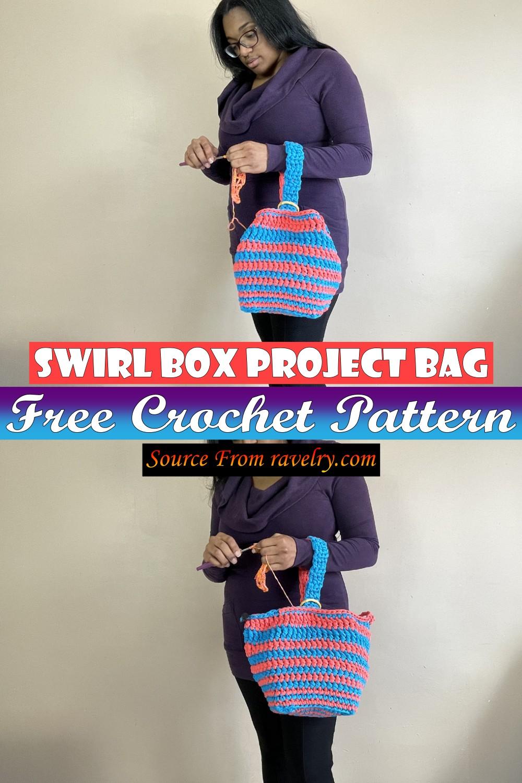 Free Crochet Swirl Box Project Bag Pattern