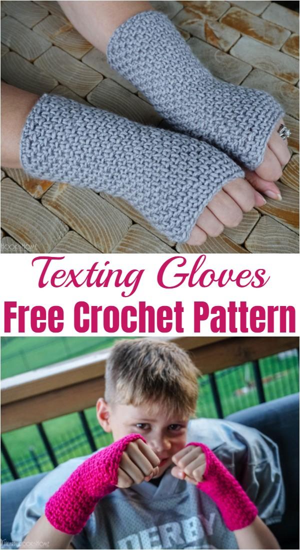 Free Crochet Texting Gloves Pattern