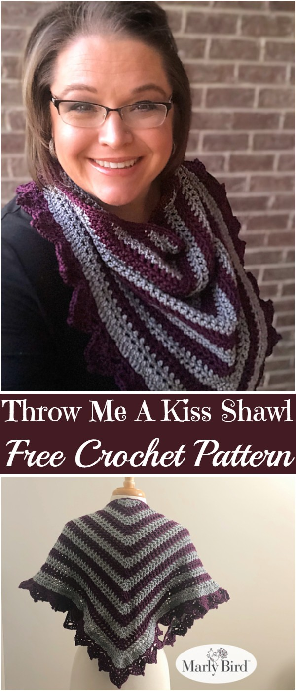 Free Crochet Throw Me A Kiss Shawl Pattern