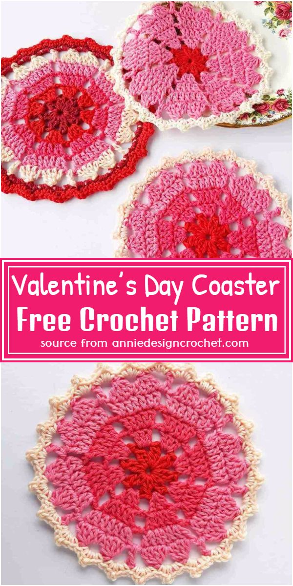 Free Crochet Valentine's Day Coaster Pattern
