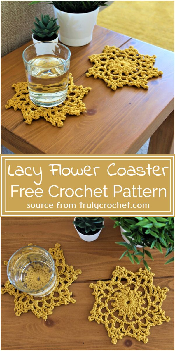 Lacy Flower Crochet Coaster Free Pattern