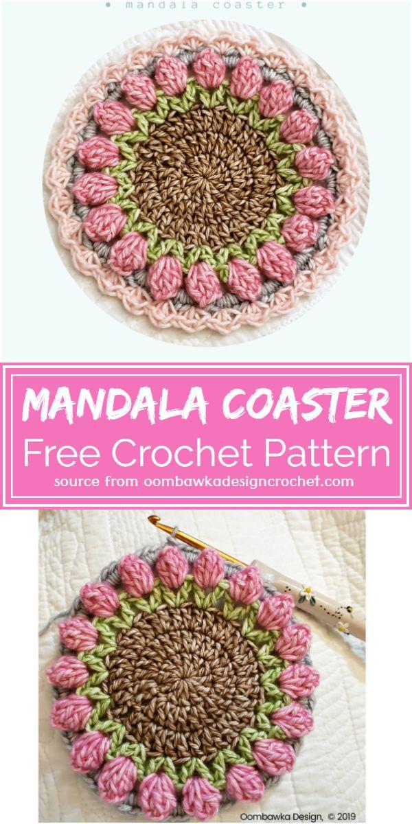Mandala Crochet Coaster Free Pattern