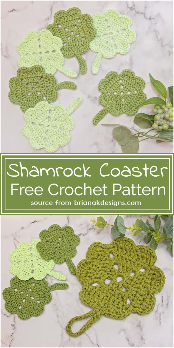 Shamrock Crochet Coaster Free Pattern