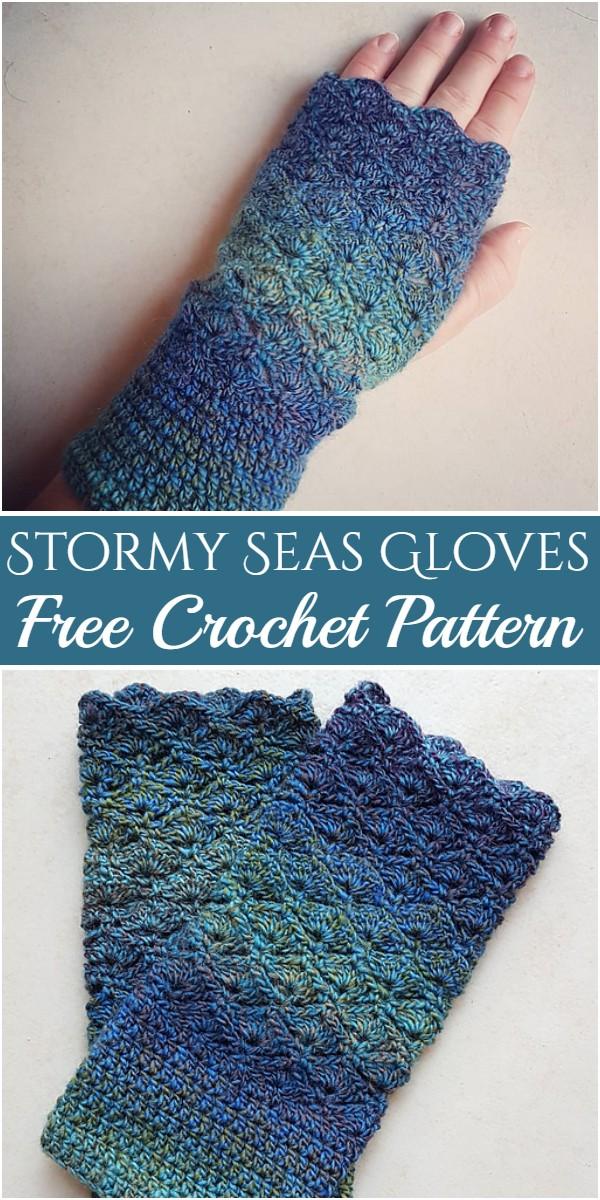 Stormy Seas Gloves Free Crochet Pattern