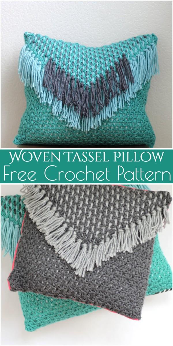 Woven Tassel Pillow Free Crochet Pattern