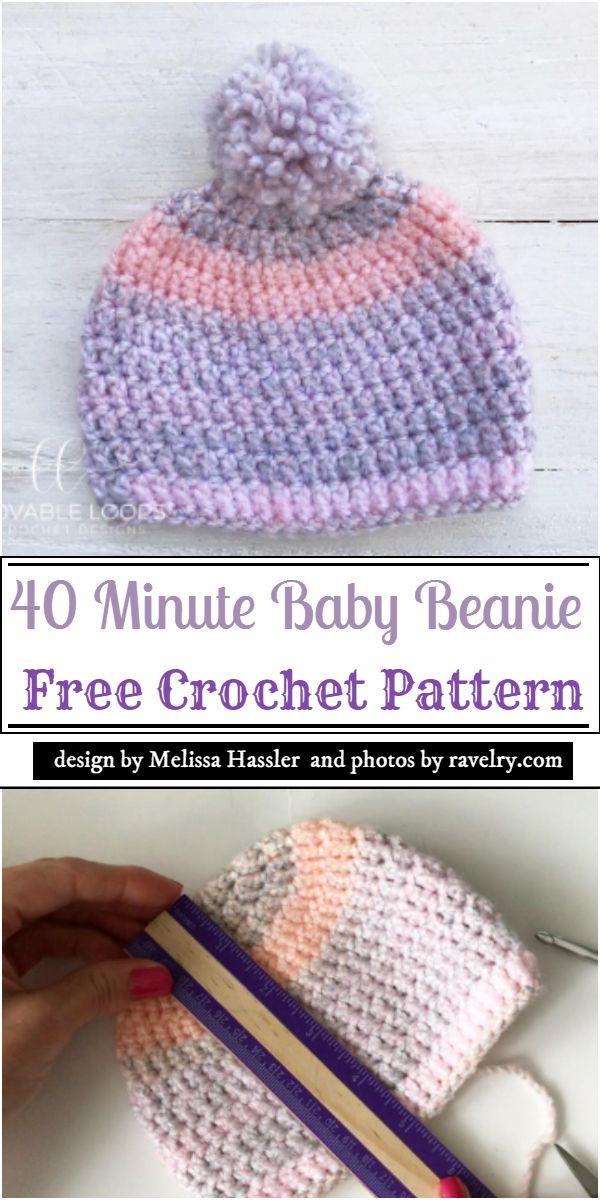 40 Minute Baby Beanie Crochet Pattern
