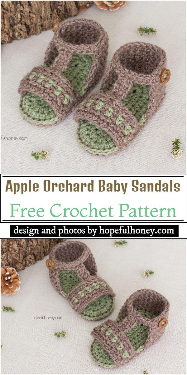 Apple Orchard Baby Sandals Crochet Pattern