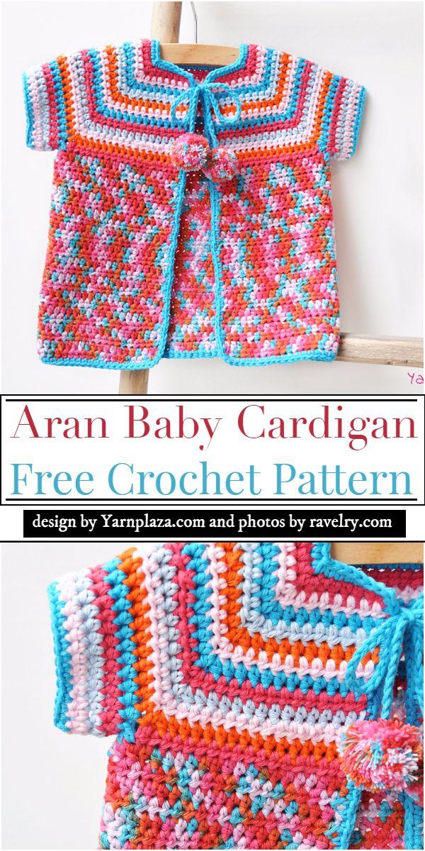 Aran Baby Cardigan Crochet Pattern