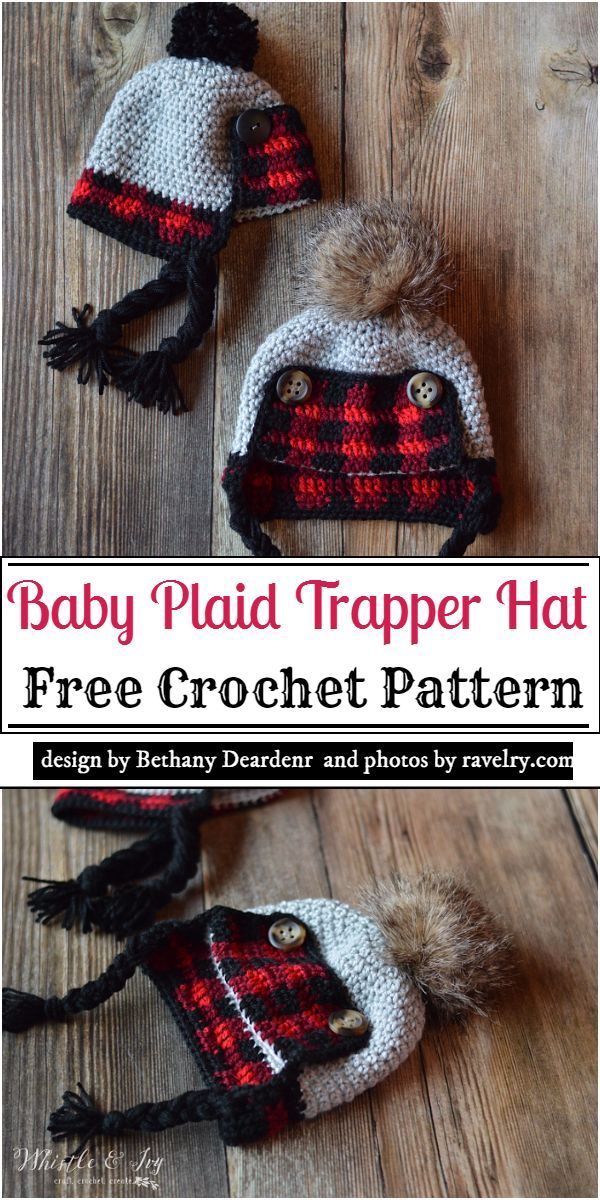 Baby Plaid Trapper Hat Crochet Pattern