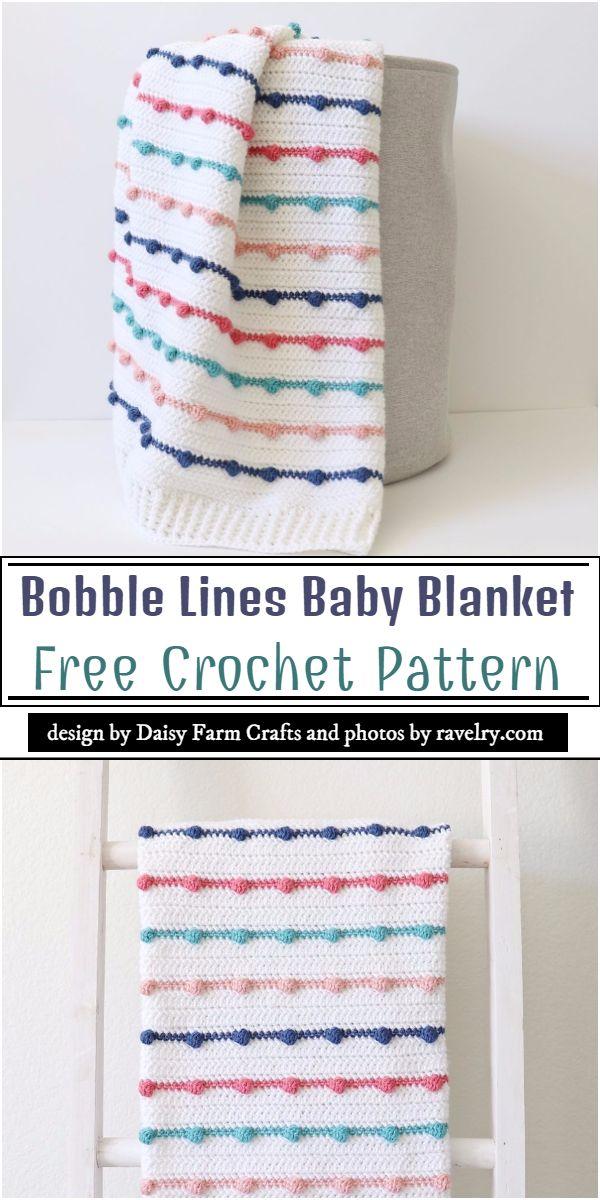 Bobble Lines Baby Blanket Crochet Pattern