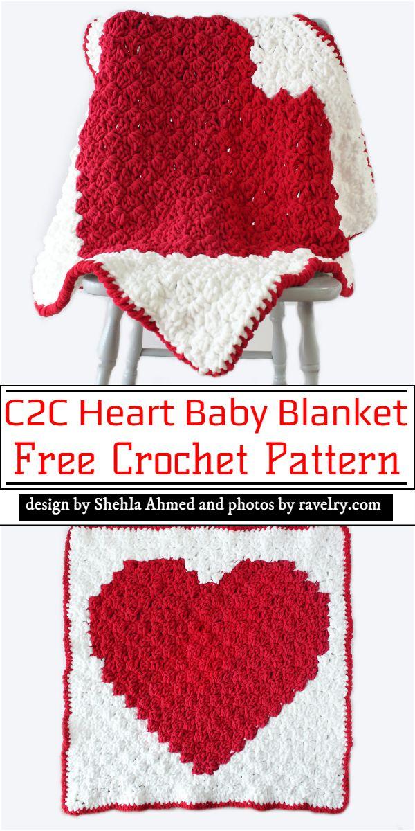 C2C Heart Baby Blanket Crochet Pattern