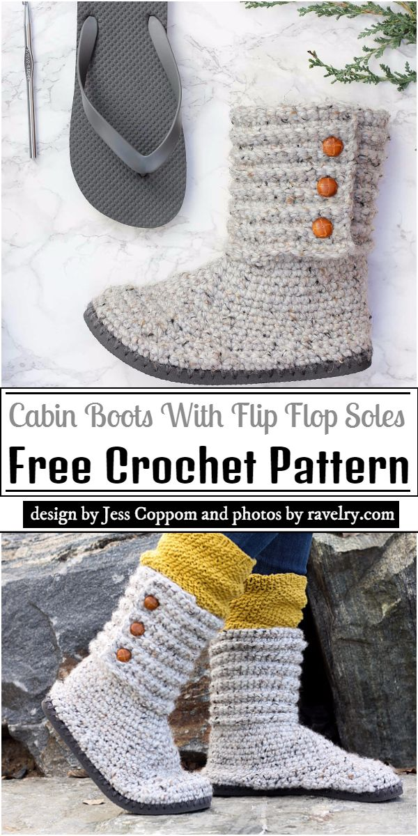 Cabin Boots With Flip Flop Soles Crochet Pattern