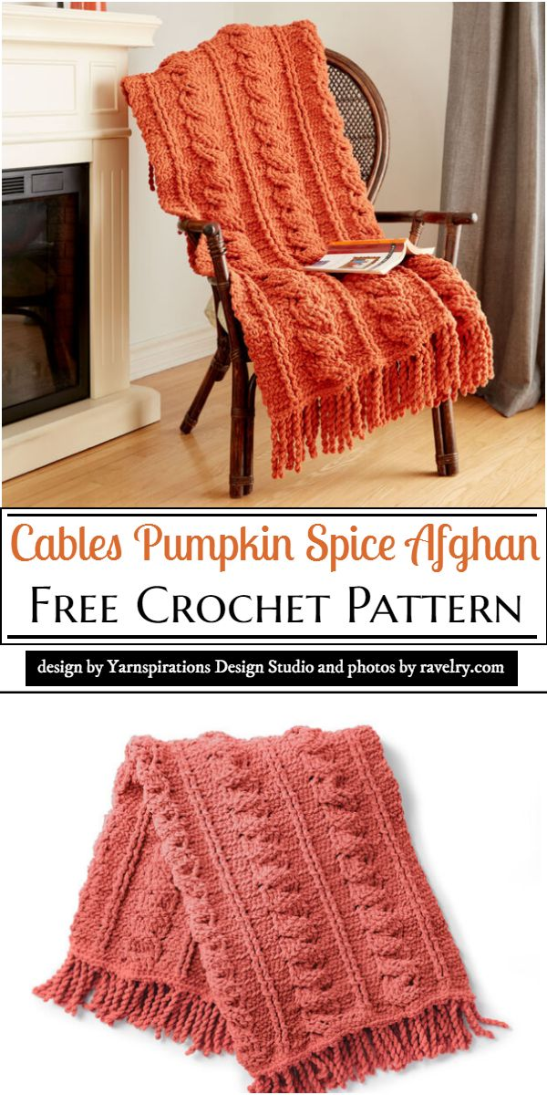 Cables Pumpkin Spice Afghan Crochet Pattern