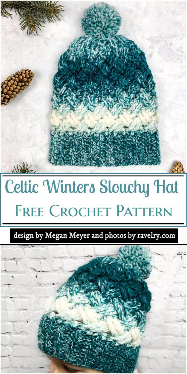 Celtic Winters Slouchy Hat Crochet Pattern