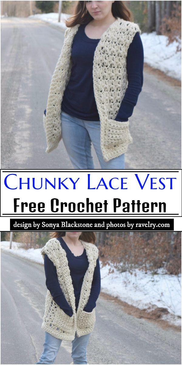 Chunky Lace Vest Crochet Pattern