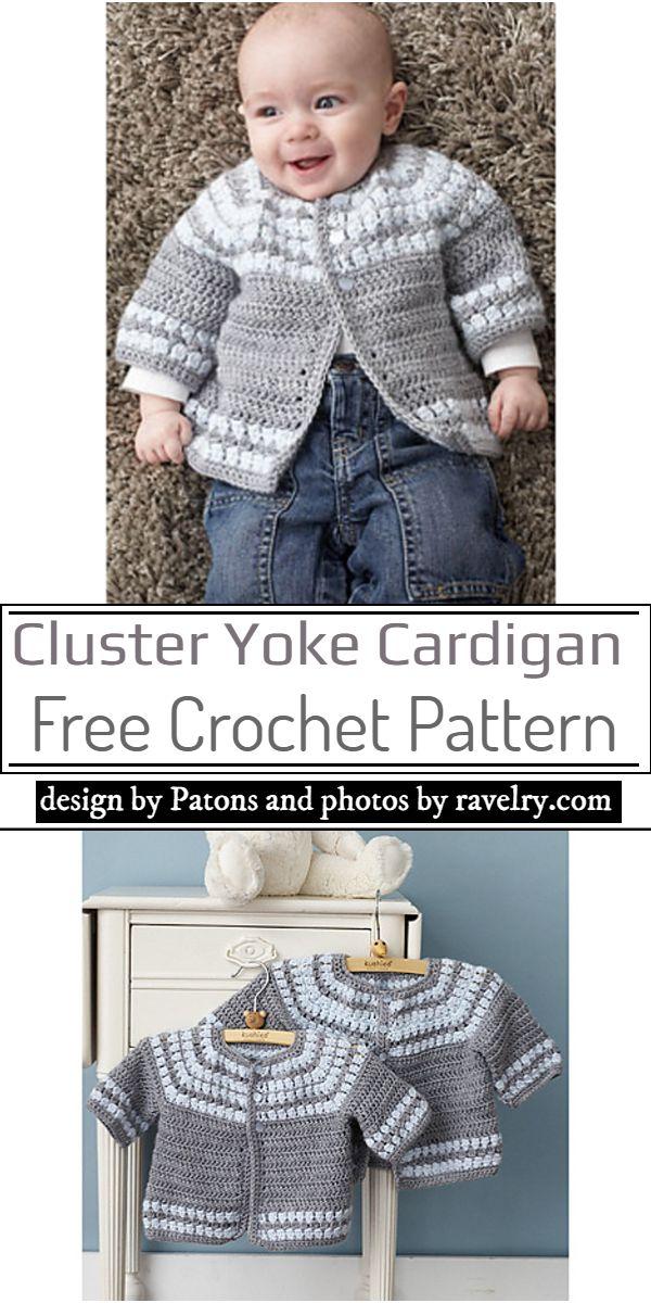 Cluster Yoke Cardigan Crochet Pattern