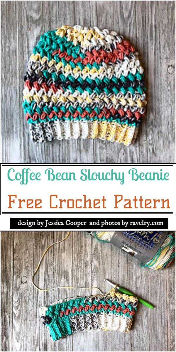 Coffee Bean Slouchy Beanie Crochet Pattern