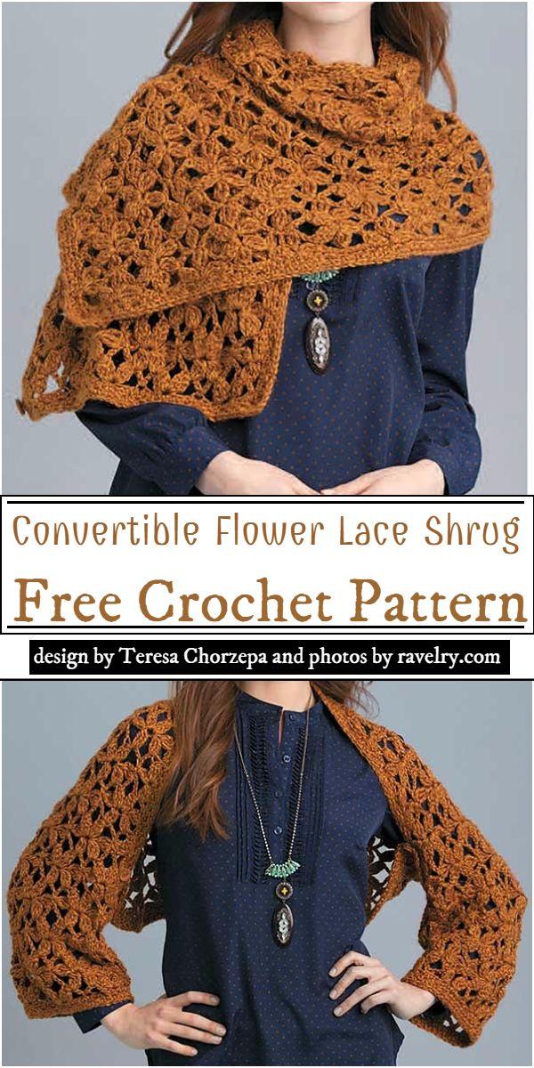Convertible Flower Lace Shrug Crochet Pattern
