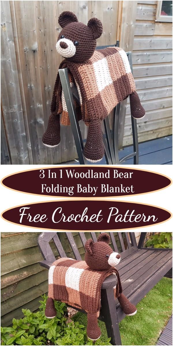 Crochet 3 In 1 Woodland Bear Folding Baby Blanket Pattern
