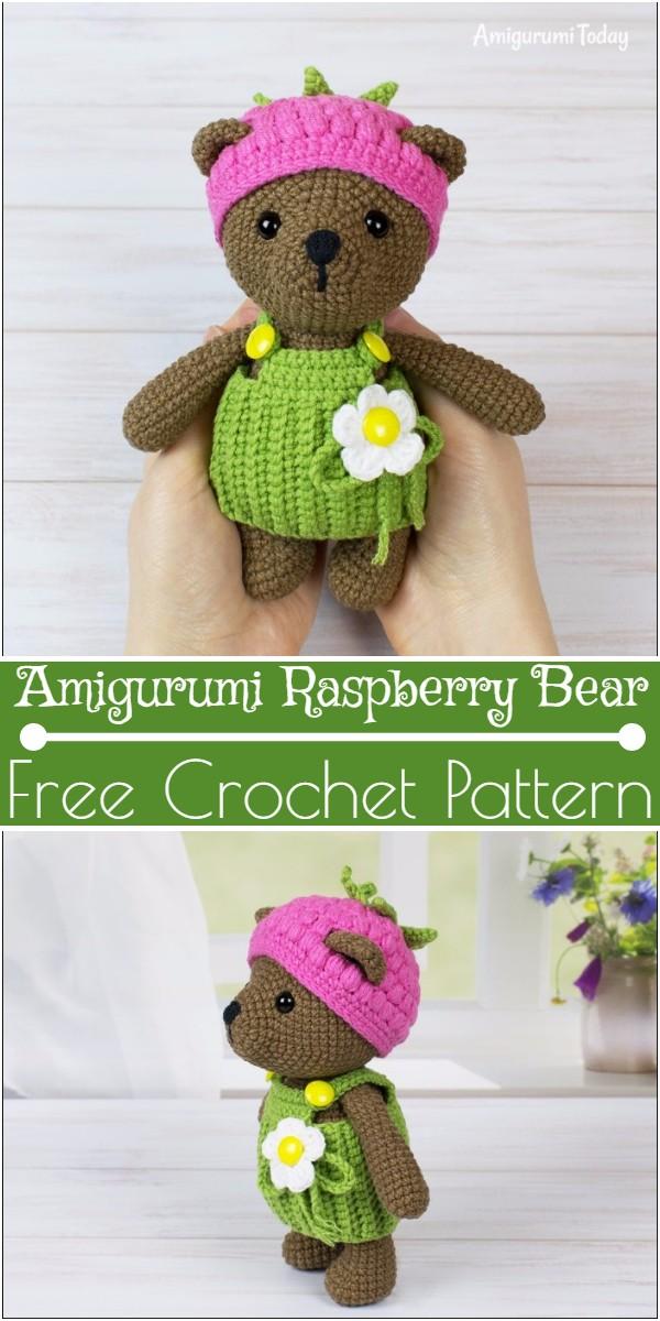 Crochet Amigurumi Raspberry Bear Pattern