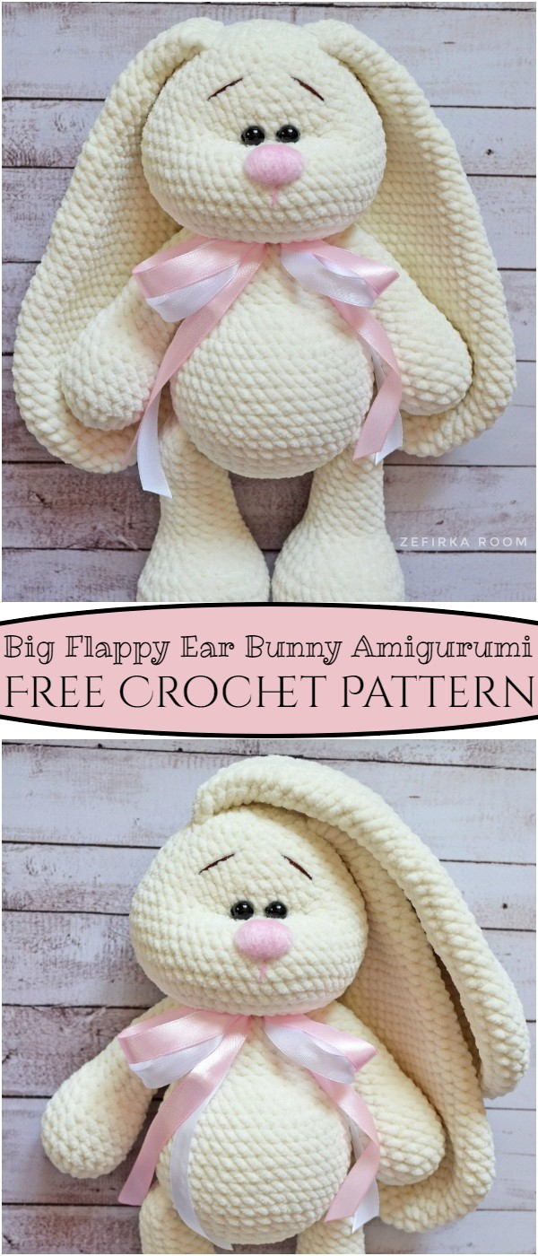 Crochet Big Flappy Ear Bunny Amigurumi Pattern