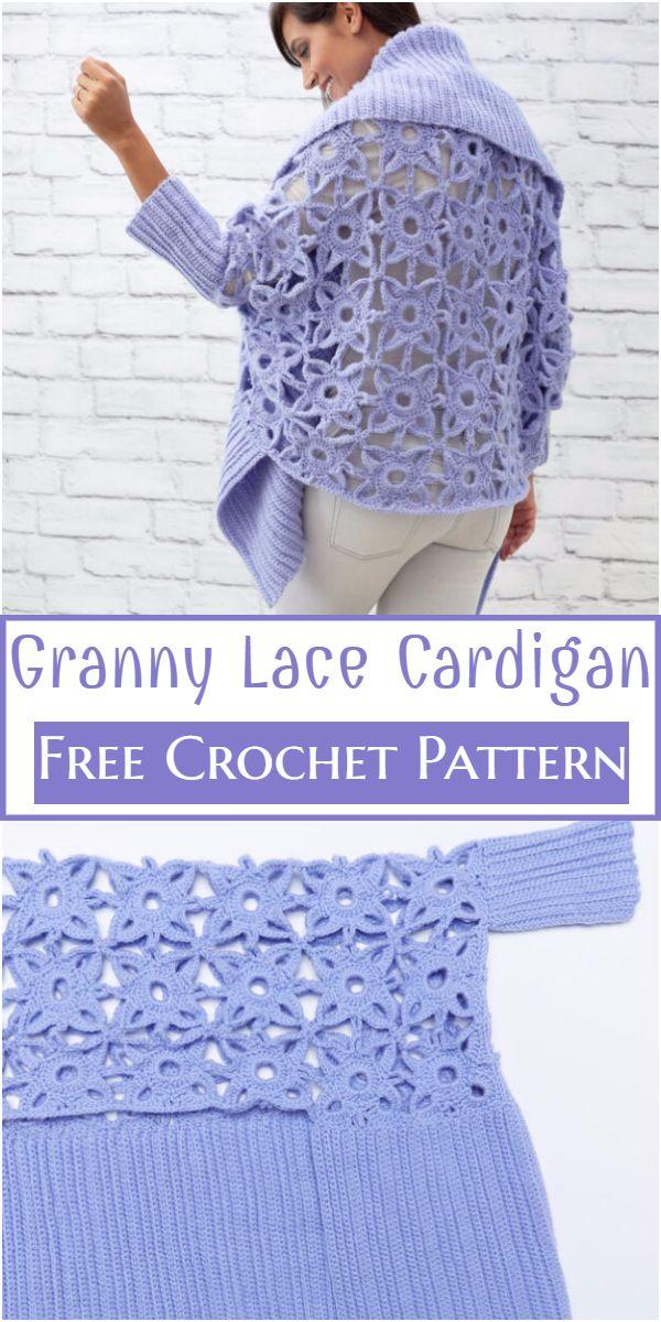 Crochet Granny Lace Cardigan Free Pattern