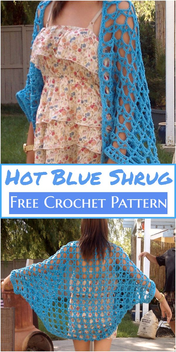 Crochet Hot Blue Shrug Free Pattern