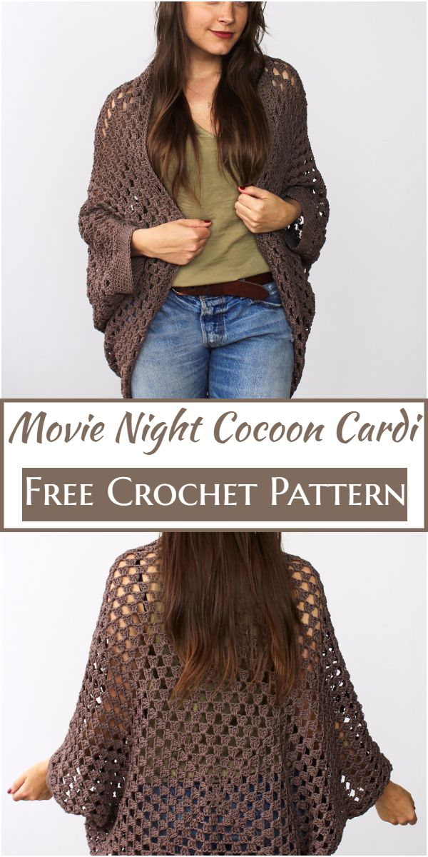 Crochet Movie Night Cocoon Cardi Free Pattern