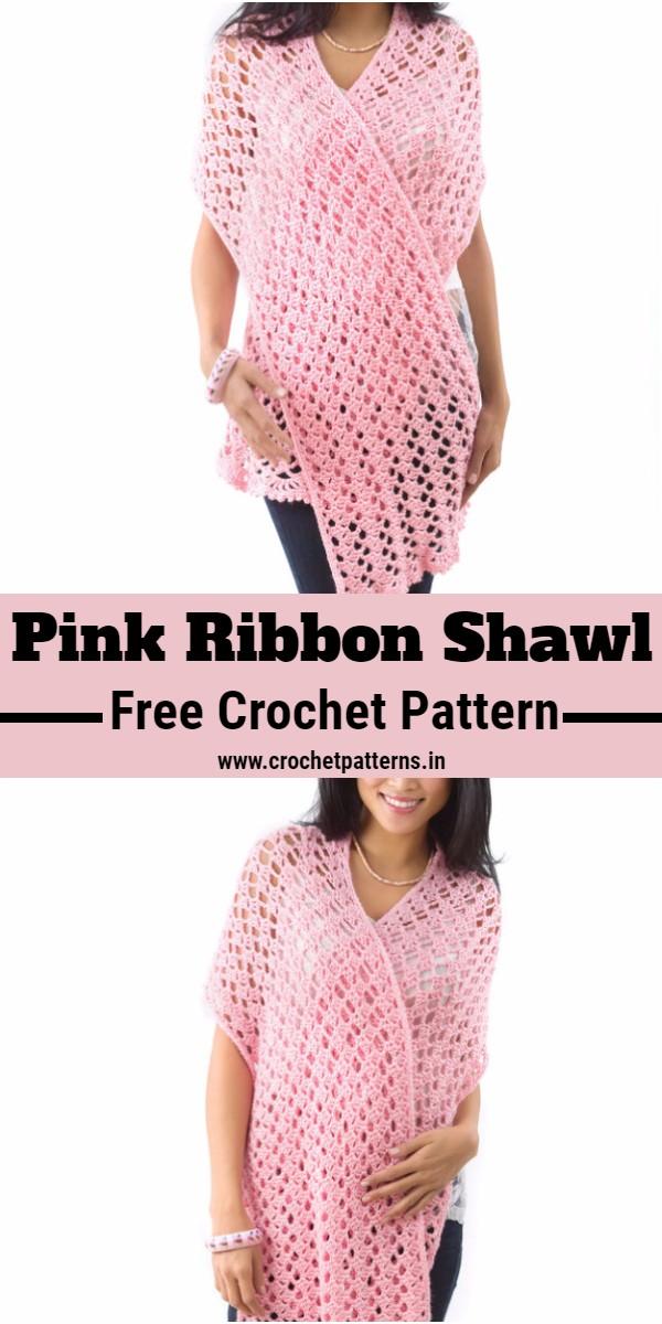 Crochet Pink Ribbon Shawl Pattern